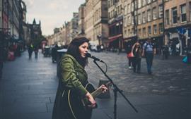 Preview wallpaper Singing girl, guitar, street