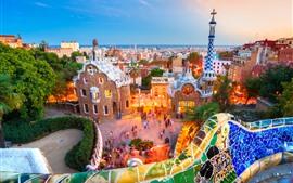 Aperçu fond d'écran Espagne, Barcelone, Lumières, Mer, Soirée, Ville, Maisons