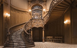 Preview wallpaper Staircase, wood, decoration, lights, interior