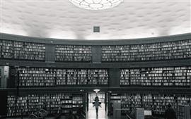 Estocolmo, Suecia, Biblioteca, Blanco y Negro