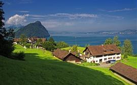 预览壁纸 瑞士,格尔绍,卢塞恩湖,斜坡,房屋,绿色