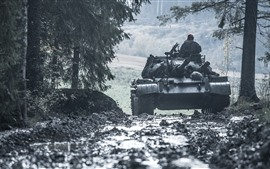 Tanque, árboles, carretera, arma.