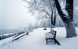 Aperçu fond d'écran Neige épaisse, arbres, banc, hiver