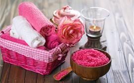 Toalha, sabão, rosa, pétalas, gotas de água, spa