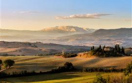 Тоскана, луга, поле, закат, Италия