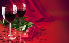 Vorschau des Hintergrundbilder Zwei Tassen Wein, rote Rosen, Liebesherzen, Valentinstag