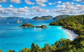 Национальный парк Виргинских островов, море, деревья, пляж, яхта