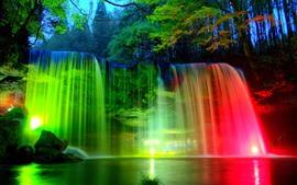 Aperçu fond d'écran Cascades, feux roses et verts, soirée, arbres