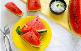 Vorschau des Hintergrundbilder Wassermelonenscheiben, Minze, Gabel