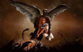 미리보기 배경 화면 날개, 악마, 소녀, 예술 그림