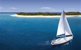 预览壁纸 游艇,岛屿,海滩,棕榈树,热带