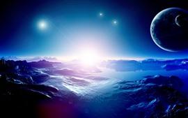 Aperçu fond d'écran Bel espace, planètes, étoiles, eau, lac, image de design créatif