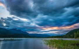 預覽桌布 不列顛哥倫比亞省,落基山脈,河流,雲彩,加拿大
