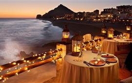 Candlelight, restaurante, cena, mar, noche