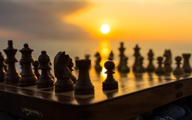壁紙のプレビュー チェス、夕日
