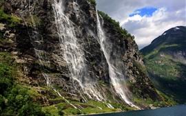 Preview wallpaper Cliff, mountain, rocks, waterfalls, sea
