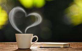 Café, livro, copo, amor coração, vapor