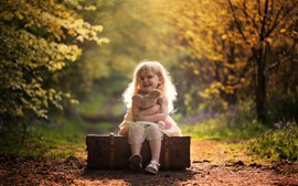 Preview wallpaper Cute little girl, smile, child, suitcase, teddy bear, autumn