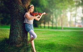 Preview wallpaper Cute little girl, violin, music, grass, tree