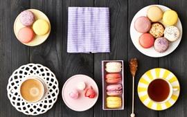 Preview wallpaper Delicious food, macaron, colorful, coffee, tea, dessert