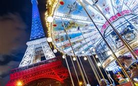 預覽桌布 埃菲爾鐵塔,法國,巴黎,旋轉木馬,夜晚,燈光