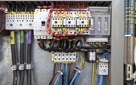 Электрическая коробка, стена, электричество, провода