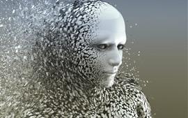 预览壁纸 人脸,数字设计,破坏,灰色