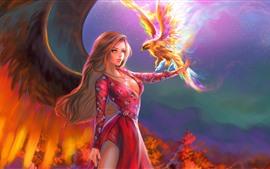 Фантазия девушка, крылья, красная юбка, огонь Феникс