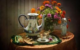 Цветы, букет, чайник, чашки, чай, натюрморт, статуя