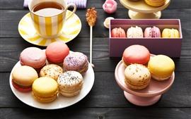 Aperçu fond d'écran Nourriture, macaron, coloré, thé