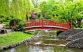 Aperçu fond d'écran France, jardin d'Albert Kahn, pont, ruisseau