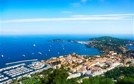 Francia, ciudad, mar azul, costa