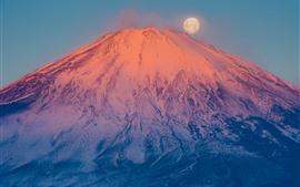 Фудзи Маунт, Вулкан, Снег, Луна, Япония