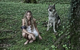 Preview wallpaper Girl and wolf, sit on ground, look