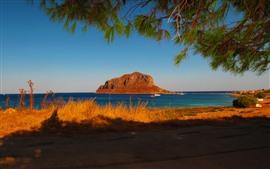 Preview wallpaper Greece, Laconia, coast, sea, island, shadow, twigs