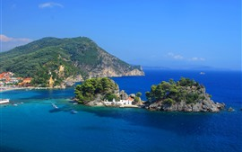 Preview wallpaper Greece, island, blue sea, Panagia