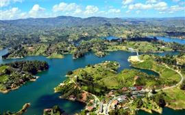 Guatape, Colombia, Río, Islas, Ciudad, Montañas