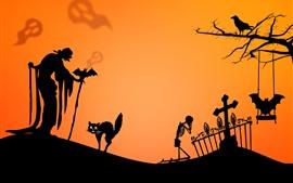 壁紙のプレビュー ハッピーハロウィーン、猫、魔女、頭蓋骨、シルエット