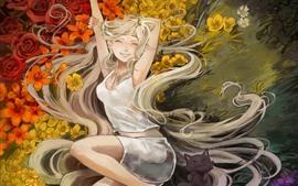Feliz pelo largo, flores, hierba, gato, imagen de arte