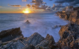 Preview wallpaper Hotel Marinella, sea, coast, sunset