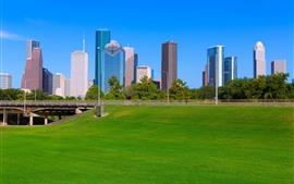 Houston, Rascacielos, Prado, Puente, Ciudad, EE.UU.