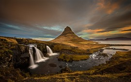 Preview wallpaper Iceland, waterfall, mountains, volcano, dusk
