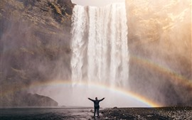 Preview wallpaper Iceland, waterfall, rainbow, man