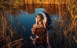 Индийская девушка, перья, озеро, трава, тростник