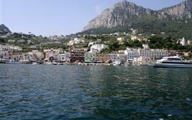 Италия, Капри, Яхта, горы, море, дома
