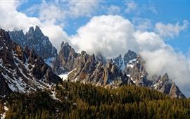 Италия, доломиты, горы, лес, вершины, облака, снег