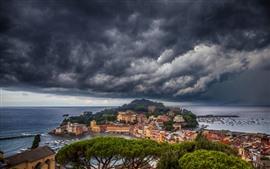 Италия, Лигурия, деревья, море, город, побережье, толстые облака