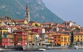 Италия, Варенна, Ломбардия, горы, море, лодки