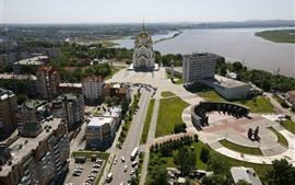 Aperçu fond d'écran Khabarovsk, Russie, Ville, Routes, Voitures, Rivière