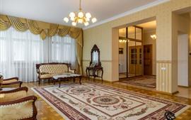 Preview wallpaper Living room, interior, lights, sofa, window